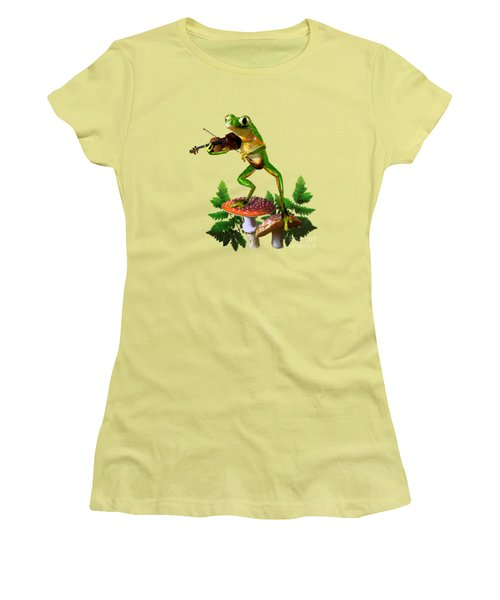 Humorous Tree Frog Playing A Fiddle Women's T-Shirt (Athletic Fit)