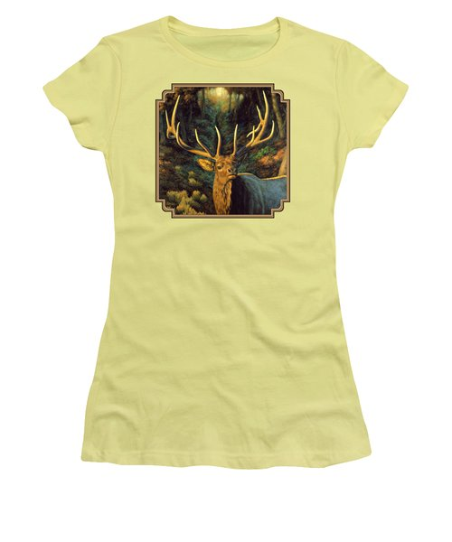 Elk Painting - Autumn Majesty Women's T-Shirt (Junior Cut) by Crista Forest