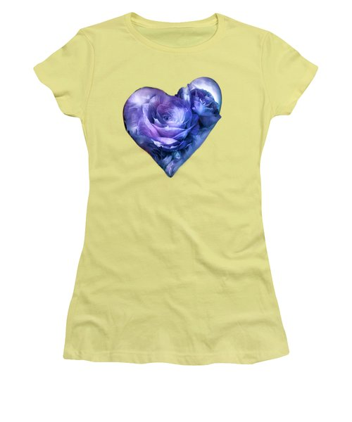 Women's T-Shirt (Junior Cut) featuring the mixed media Heart Of A Rose - Lavender Blue by Carol Cavalaris