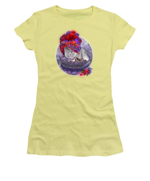 Women's T-Shirt (Junior Cut) featuring the mixed media Cat In The Red Hat by Carol Cavalaris