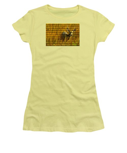 The Buck Poses Here Women's T-Shirt (Junior Cut) by Bill Kesler