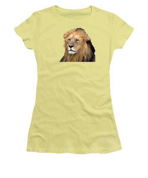 Women's T-Shirt (Junior Cut) featuring the photograph Masai Mara Lion Portrait    by Aidan Moran