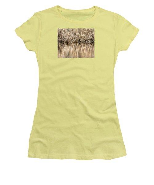 Golden Reed Reflection Women's T-Shirt (Junior Cut) by Bill Kesler