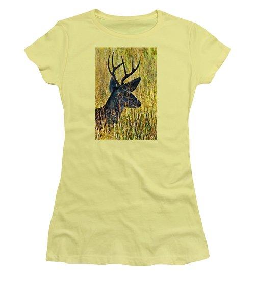 The Buck Rests Here Women's T-Shirt (Junior Cut) by Bill Kesler