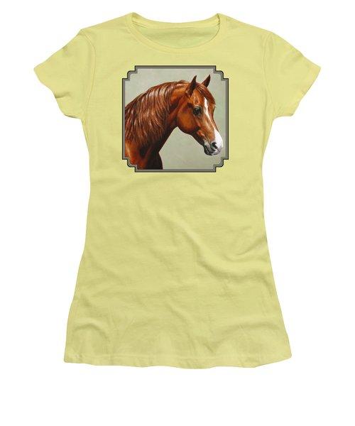 Morgan Horse - Flame Women's T-Shirt (Junior Cut) by Crista Forest