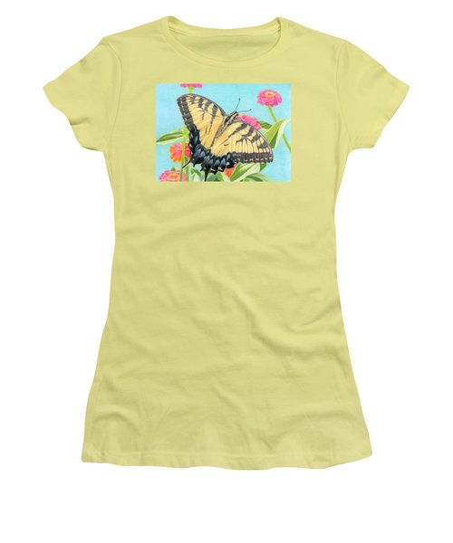 Swallowtail Butterfly And Zinnias Women's T-Shirt (Junior Cut) by Sarah Batalka