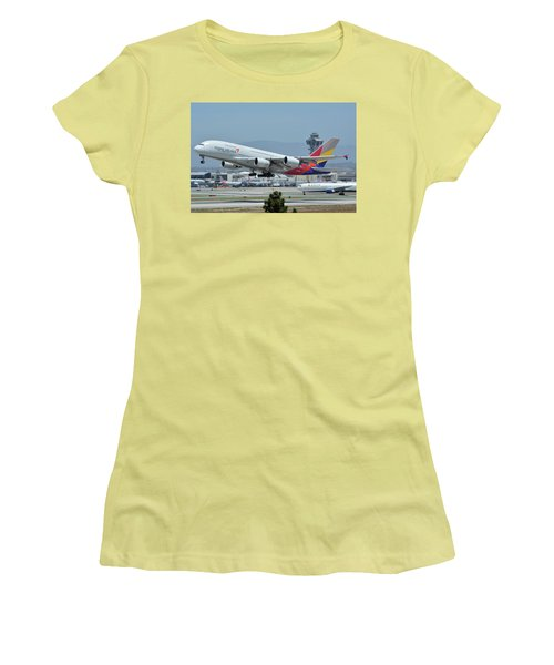 Women's T-Shirt (Junior Cut) featuring the photograph Asiana Airbus A380-800 Hl7626 Los Angeles International Airport May 3 2016 by Brian Lockett