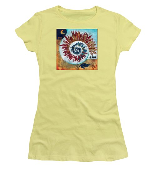 Women's T-Shirt (Junior Cut) featuring the painting At The Edge Of Day And Night by Anna Ewa Miarczynska