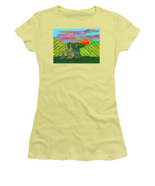 At The Vineyard Women's T-Shirt (Junior Cut) by Haleh Mahbod