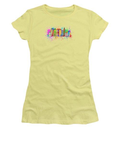 Atlanta Skyline Paint Splatter Illustration Women's T-Shirt (Junior Cut) by Jit Lim