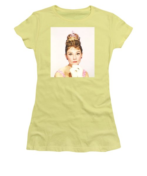Women's T-Shirt (Athletic Fit) featuring the photograph Audrey Hepburn Breakfast At Tiffanys  by R Muirhead Art