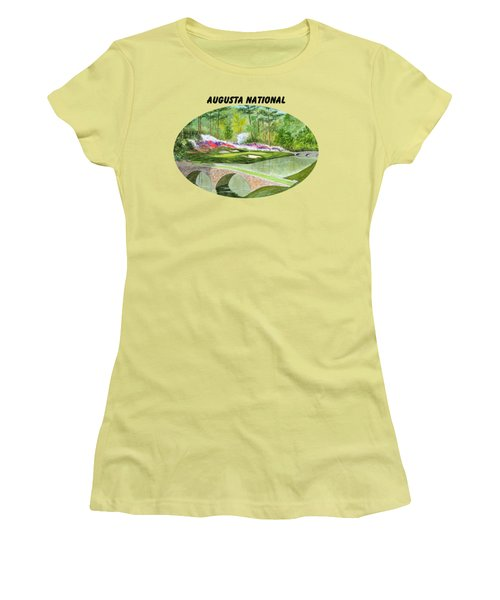 Augusta National Golf Course With Banner Women's T-Shirt (Junior Cut) by Bill Holkham