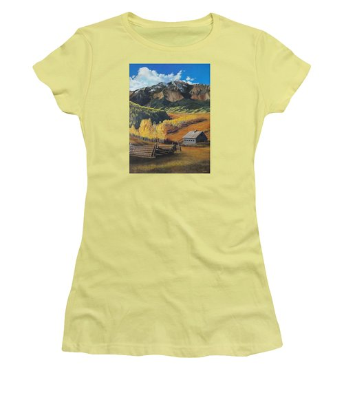 Women's T-Shirt (Junior Cut) featuring the painting Autumn Nostalgia Wilson Peak Colorado by Anastasia Savage Ealy
