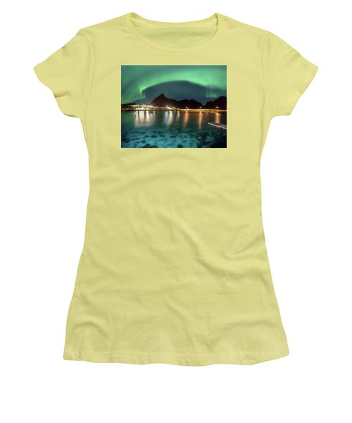 Aurora Above Turquoise Waters Women's T-Shirt (Junior Cut) by Alex Conu