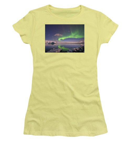 Women's T-Shirt (Athletic Fit) featuring the photograph Aurora Borealis And Reflection #2 by Wanda Krack