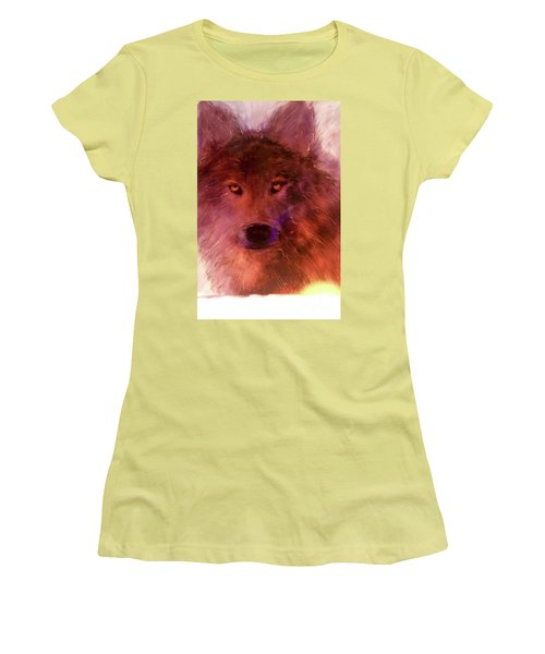 Women's T-Shirt (Junior Cut) featuring the painting Aurora Rising by FeatherStone Studio Julie A Miller