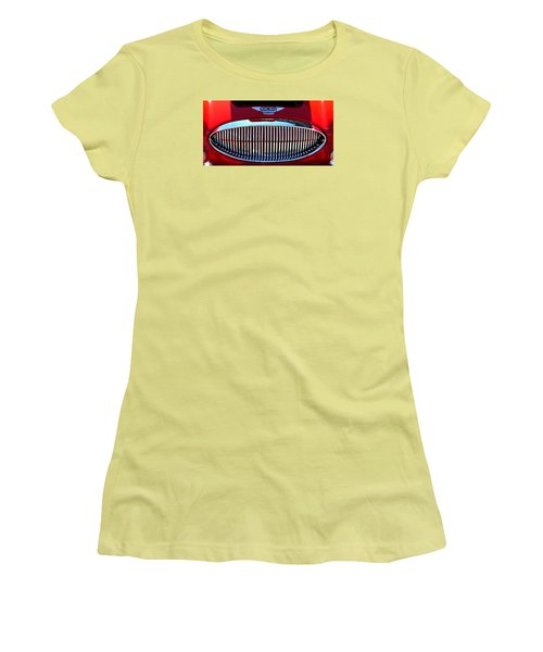 Women's T-Shirt (Junior Cut) featuring the photograph Austin Healey Grille by Spyder Webb