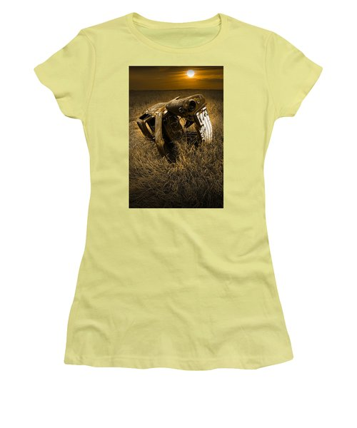 Auto Wreck In A Grassy Field On The Prairie At Sunset Women's T-Shirt (Athletic Fit)