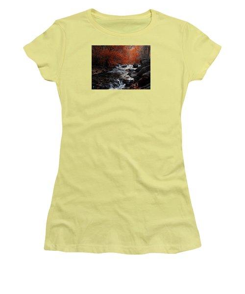Autumn Along The Creek Women's T-Shirt (Junior Cut) by Ernie Echols