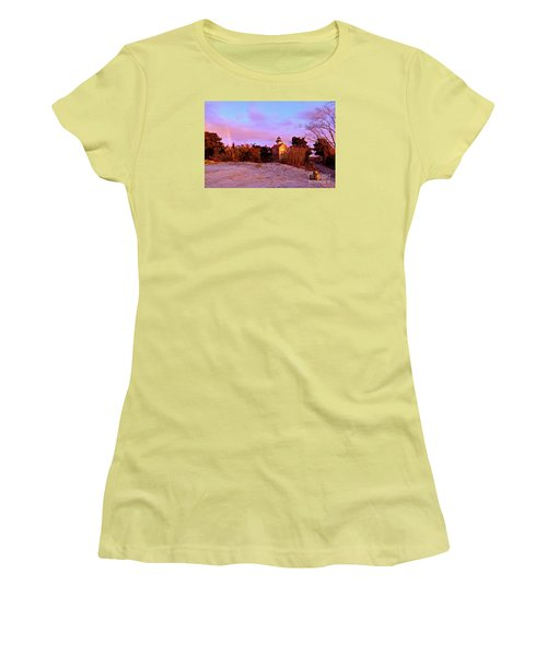 Autumn At East Point Lighthouse Women's T-Shirt (Junior Cut) by Nancy Patterson