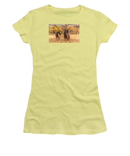 Women's T-Shirt (Junior Cut) featuring the photograph Autumn Beauty At Dawn by Yeates Photography