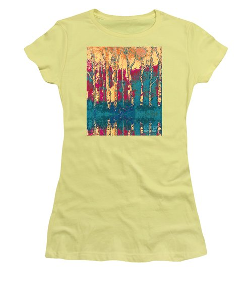 Women's T-Shirt (Junior Cut) featuring the painting Autumn Birches by Holly Martinson