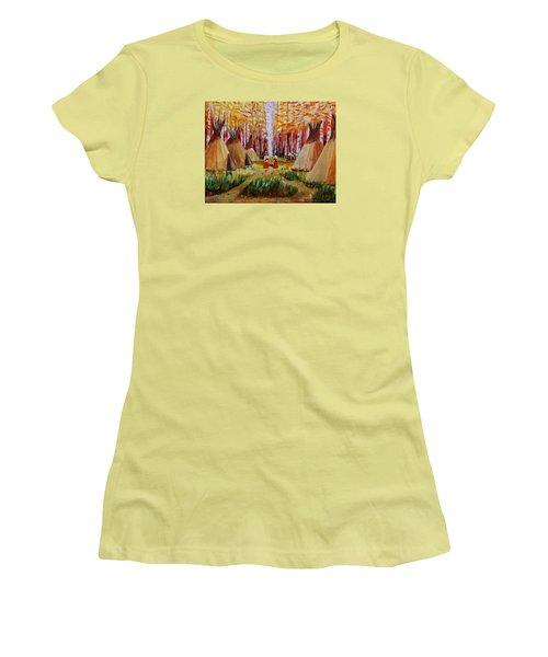 Autumn Camp Women's T-Shirt (Junior Cut) by Mike Caitham