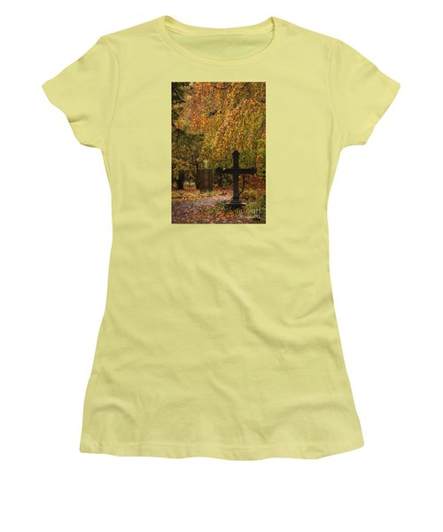 Women's T-Shirt (Junior Cut) featuring the photograph Autumn Cemetary by Inge Riis McDonald