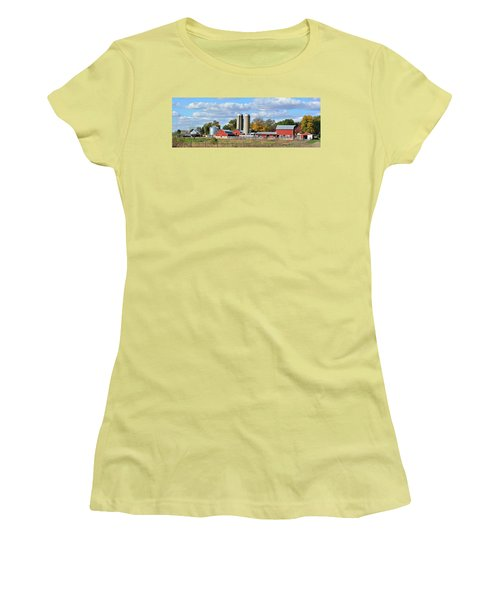 Autumn Elk Farm Women's T-Shirt (Junior Cut) by Bonfire Photography