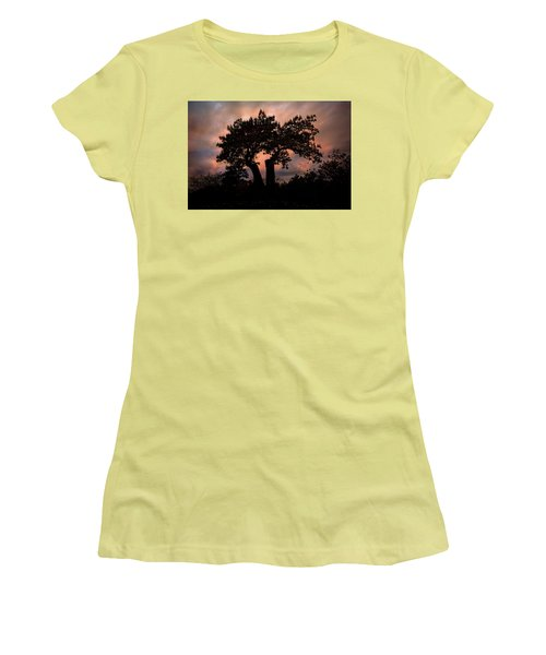 Women's T-Shirt (Athletic Fit) featuring the photograph Autumn Evening Sunset Silhouette by Chris Lord