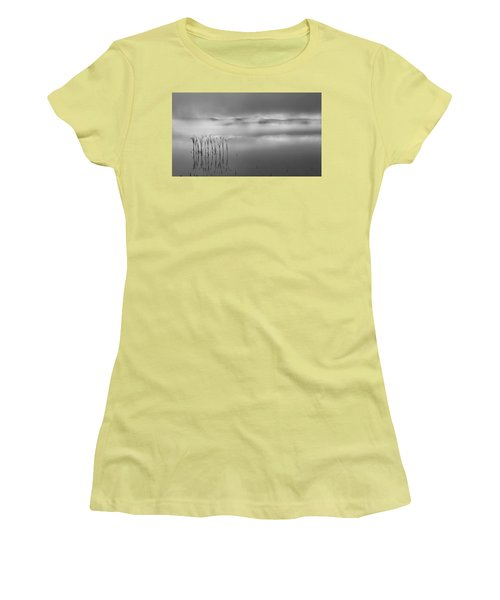 Women's T-Shirt (Junior Cut) featuring the photograph Autumn Fog Black And White by Bill Wakeley