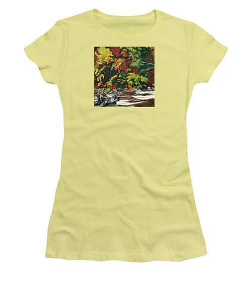Women's T-Shirt (Junior Cut) featuring the painting Autumn Frost by Donna Blossom