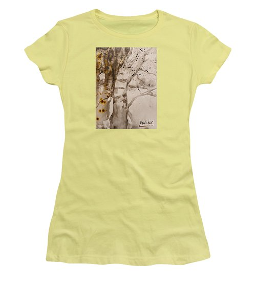 Women's T-Shirt (Junior Cut) featuring the painting Autumn Human Face Tree by AmaS Art