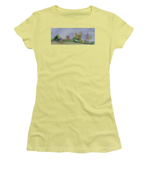 Women's T-Shirt (Junior Cut) featuring the painting Autumn In Rural Ohio by Mary Haley-Rocks