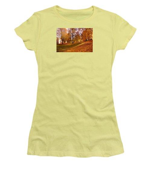 Women's T-Shirt (Junior Cut) featuring the photograph Autumn In The City Park Maastricht by Nop Briex