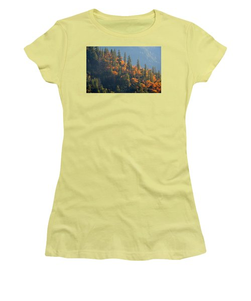Women's T-Shirt (Athletic Fit) featuring the photograph Autumn In The Feather River Canyon by AJ Schibig
