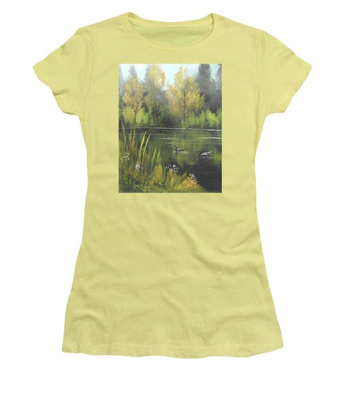 Women's T-Shirt (Junior Cut) featuring the mixed media Autumn In The Park by Angela Stout