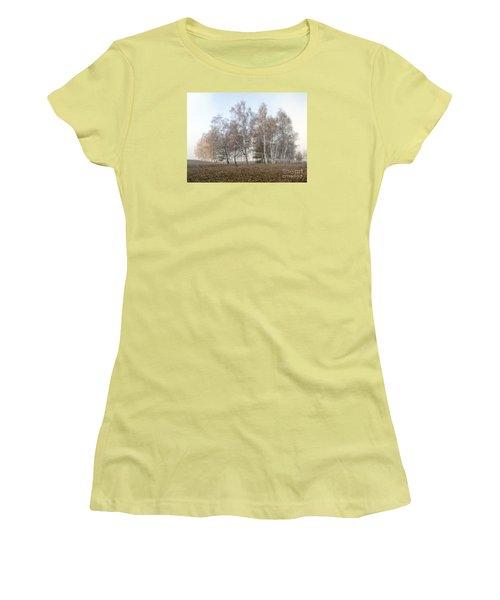 Autumn Landscape In A Birch Forest With Fog Women's T-Shirt (Junior Cut) by Odon Czintos