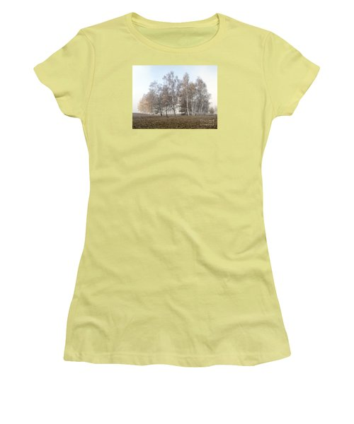 Autumn Landscape In A Birch Forest With Fog Women's T-Shirt (Athletic Fit)