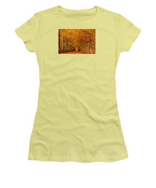 Autumn Lane In An Orange Forest Women's T-Shirt (Junior Cut) by IPics Photography