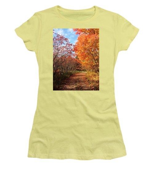 Women's T-Shirt (Junior Cut) featuring the photograph Autumn Lane by Pat Purdy