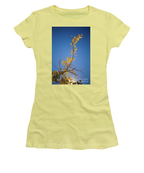 Women's T-Shirt (Athletic Fit) featuring the photograph Autumn Leaves Is Changing Color During October Fall Season With  by Jingjits Photography