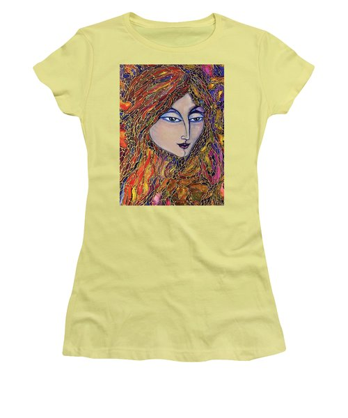 Women's T-Shirt (Junior Cut) featuring the painting Autumn Leaves by Rae Chichilnitsky