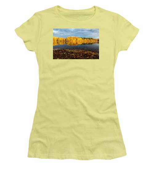 Autumn Morning Reflection On Lake Pentucket Women's T-Shirt (Junior Cut) by Betty Denise