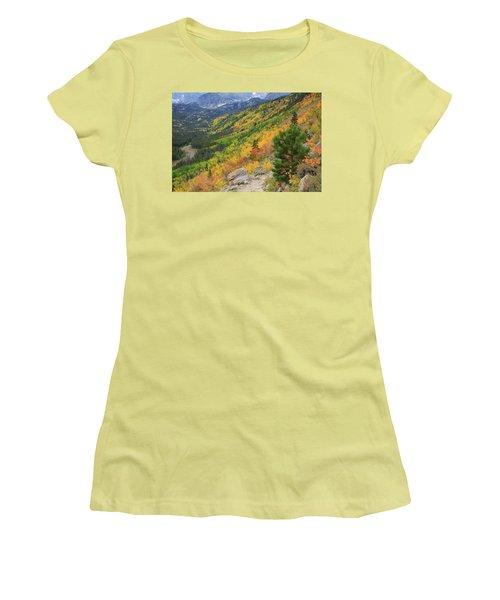 Women's T-Shirt (Junior Cut) featuring the photograph Autumn On Bierstadt Trail by David Chandler