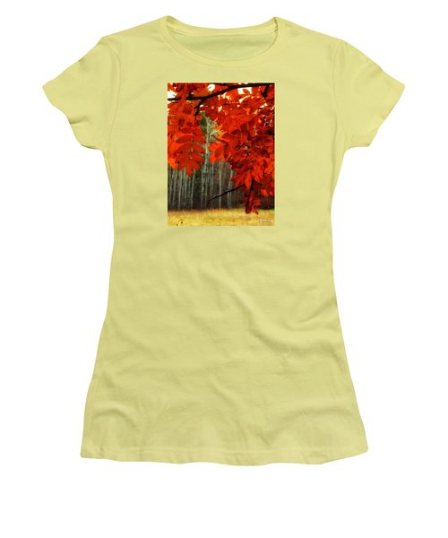 Autumn Red Women's T-Shirt (Athletic Fit)