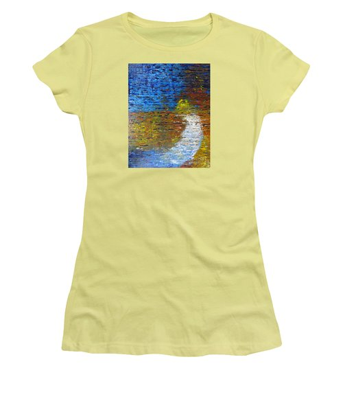 Women's T-Shirt (Junior Cut) featuring the painting Autumn Reflection by Jacqueline Athmann