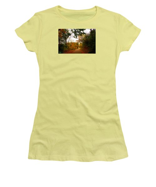Women's T-Shirt (Junior Cut) featuring the photograph Autumn Trail by Michael Rucker