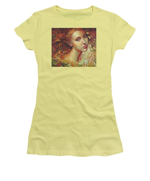 Women's T-Shirt (Junior Cut) featuring the painting Autumn Wind by Elena Oleniuc
