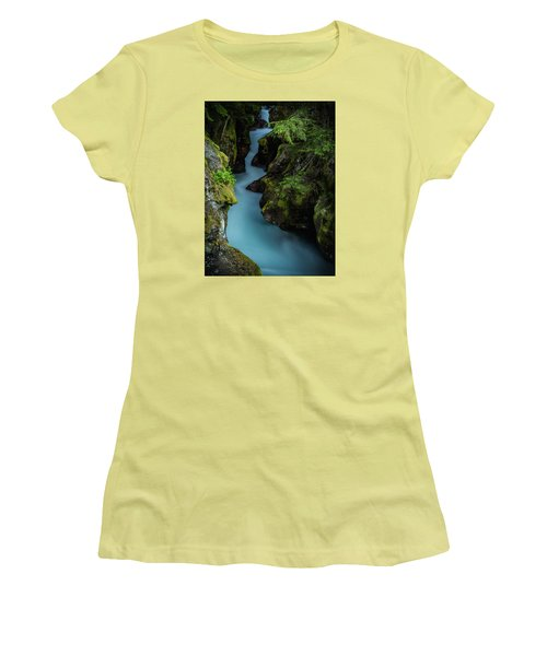 Avalanche Creek- Glacier National Park Women's T-Shirt (Athletic Fit)